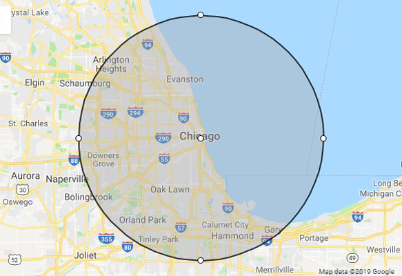 phillips celebrations radius of chicago illinois service area