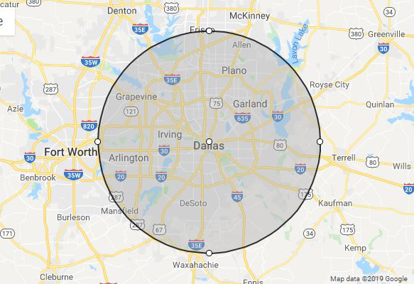 phillips celebrations service radius dallas texas