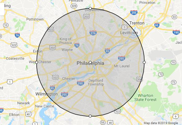 phillips celebrations service radius philadelphia pennsylvania